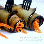 Роллы из баклажана/цукини фаршированные морковкой по-корейски